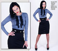 Трикотажная блуза с рюшем, фото 1