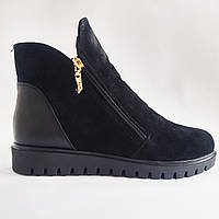 Зимние ботинки женские замшевые черные Amina Gold 713