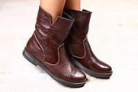 Стильные  демисезонные  кожаные ботинки коричневого цвета