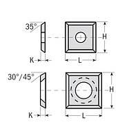 Сменные ножи с 4х сторонней заточкой 14×14×2  45°CMT Италия