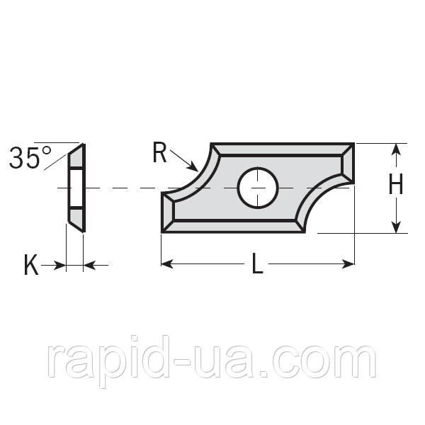Профилированные радиусные ножи  19,5×9×1,5  R5 ммCMT Италия