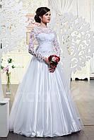 Свадебное платье атласное, с длинным рукавом, с бантом