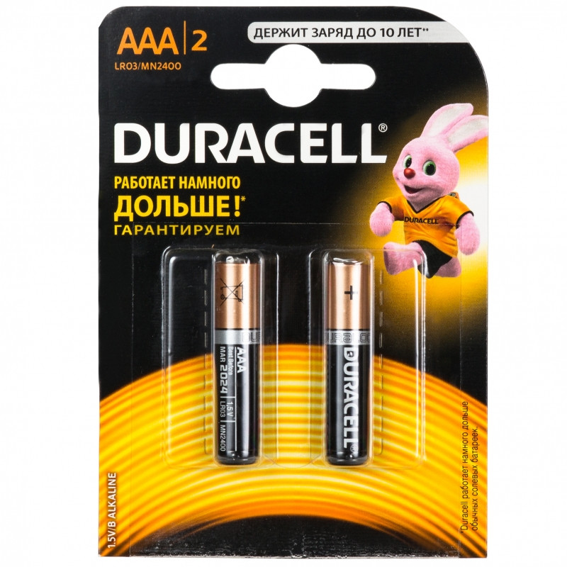 Батарейки DURAСELL Basic AAA 1.5V LR03 2шт. Бельгия (мизинчиковые)