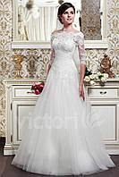 Свадебное платье с фатина, с кружевным лифом и рукавами