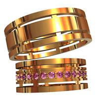 Консервативные эксклюзивные золотые обручальные кольца 585* пробы с камнями