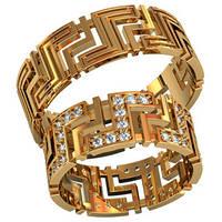 Элегантные эксклюзивные золотые обручальные кольца 585* пробы с камнями