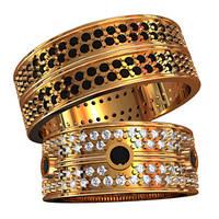 Притязательные эксклюзивные золотые обручальные кольца 585* пробы с камнями