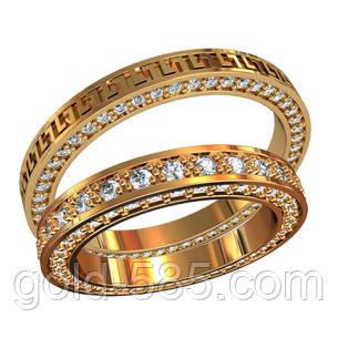 Стильные тонкие эксклюзивные золотые обручальные кольца 585  пробы с  камнями - Мастерская ювелирных украшений « 00c5a8503df