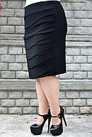 Юбка на флисе большого размера Волна флис 058, юбки для полных, юбка батал от производителя, дропшиппинг