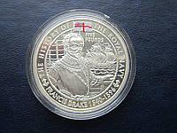 Монета Джерси Великобритания 2003 5 фунтов Френсис Дрейк флот корабль серебро эмаль