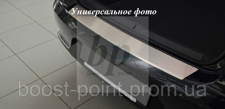 Защитная хром накладка на задний бампер с загибом Nissan Tiida 4D (ниссан тиида 2007+) седан