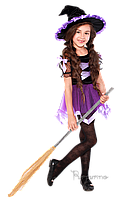 Детский карнавальный костюм для девочки ВЕДЬМОЧКА код 2052