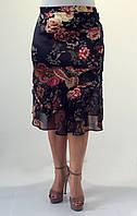 Женская летняя юбка черная с цветами