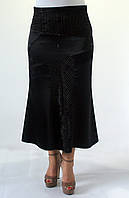 Женская атласная юбка Годе черного цвета