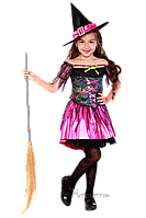 Детский карнавальный костюм для девочки ВЕДЬМОЧКА код 2090