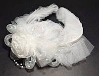 Обруч для волос, фатин, белый, большая роза, мелкий бисер 21_4_15