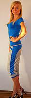 Костюм спортивный c бриджами  синий