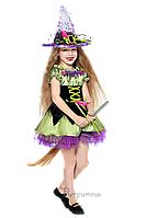 Детский карнавальный костюм для девочки ВЕДЬМОЧКА код 2059