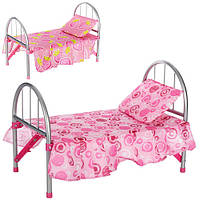Кроватка для кукол металлическая, подушка, в кульке