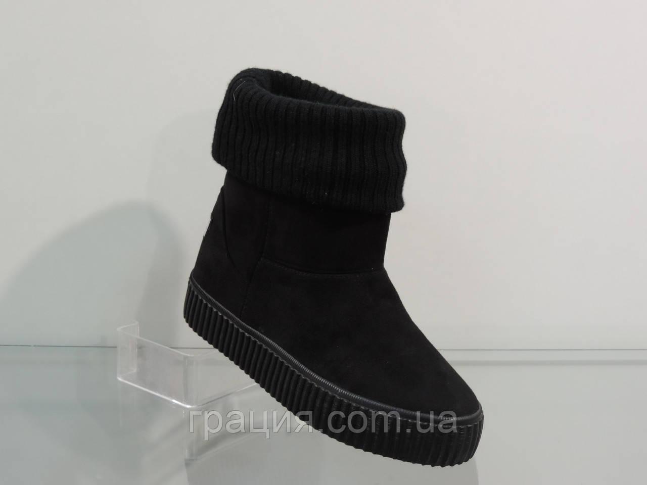 Молодежные зимние велюровые ботинки с отворотом