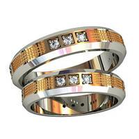 Модные эксклюзивные золотые обручальные кольца 585* пробы с камнями