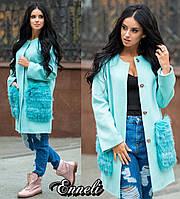 Яркое женское пальто материал шерсть ангора, мех на карманах натуральный песец, цвет мята