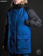 Зимняя куртка (парка) Staff - North melange blue Art. SME0002 (синий \ чёрный)