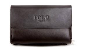Мужское фирменное портмоне Polo - барсетка Поло- клатч на руку, коричневая