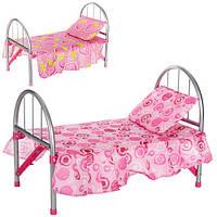 Кроватка для кукол металлическая, подушка, в кульке 9342 / WS 2772