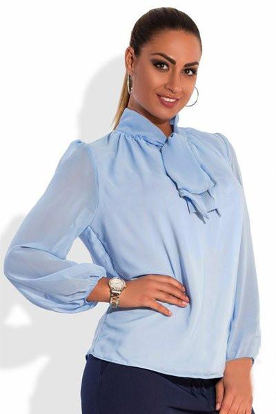 Блузка с длинным рукавом  -Piano -  голубой