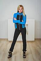 Спортивный костюм женский черный+голубой