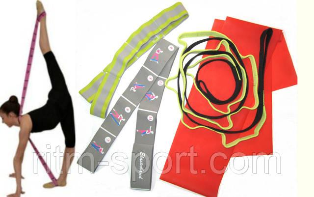 На тренировках по гимнастике для растяжки спортсменок используются резиновые и латексные ленты.