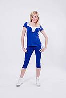 Костюм спортивный женский с бриджами синий
