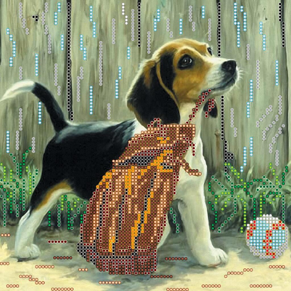 """Схема для вышивания бисером """"Игривый щенок"""""""