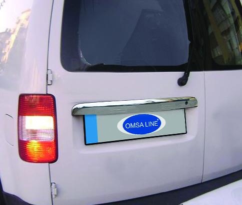 Накладка над номером (2 дверн, нерж) - Volkswagen Caddy (2004-2010)