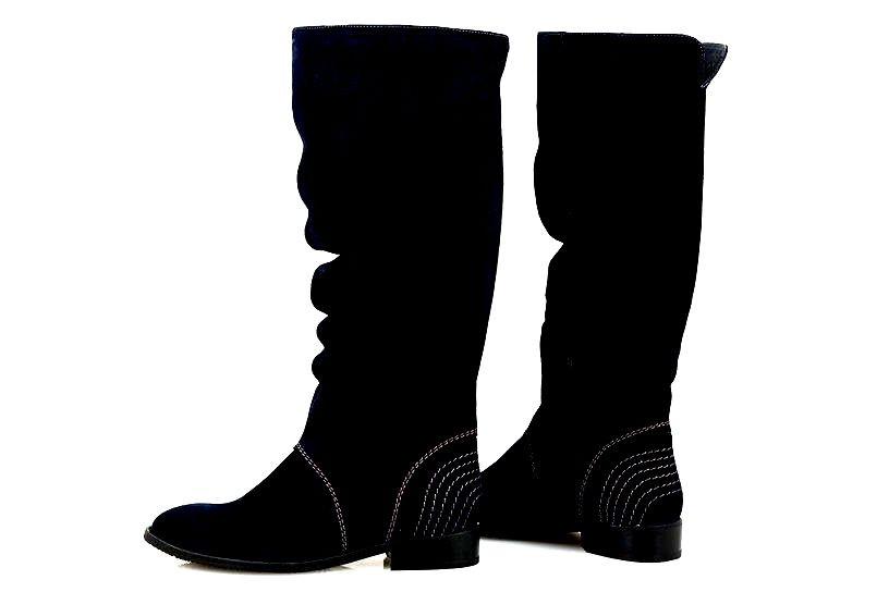 Сапоги замшевые женские темно-коричневые / Women's shoes 20206-02