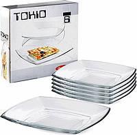 Тарелка обеденная квадратная Tokio 6 шт.*265 мм, Pasabahce 54087 ПУ