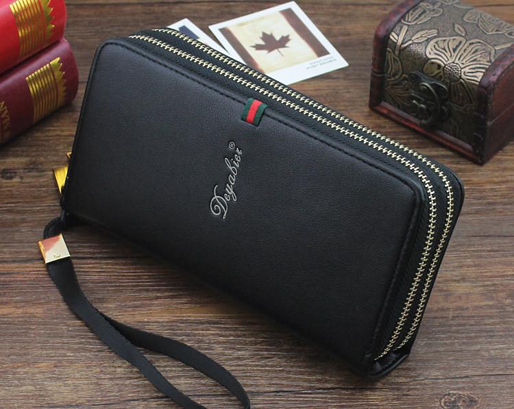 Мужское портмоне Deyabier - клатч на запястье, черное ( код: IBP008B )
