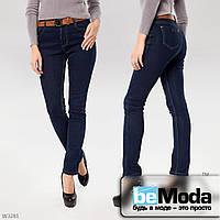Привлекательные джинсы женские на флисе Lady N облегающие фигуру без потертостей насыщеного цвета темно-синие