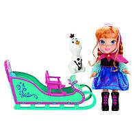 Кукла Анна с санями и снеговиком Олафом