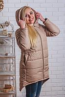 Пальто зимнее с капюшоном беж
