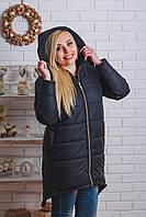 Пальто зимнее с капюшоном черное