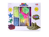 Кинетический песок 1кг с формочками 3806. Песочница без забот у вас дома. Игровой песок для лепки.