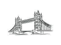 Виниловая Наклейка Glozis London Bridge 190х100 см
