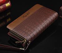 Мужское портмоне Deyabier - клатч на запястье, барсетка коричневая под рептилию, фото 1