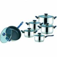 Набор посуды Maestro 12 предметов, ручки синего цвета