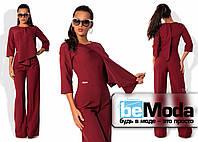 Оригинальный женский комбинезон из каественной костюмки с необычным верхом с запахом и свободными брюками цвета марсала