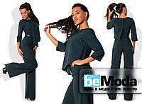 Оригинальный женский комбинезон из качественной костюмки с необычным верхом с запахом и свободными брюками
