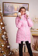 Курточка зимняя с мехом розовая