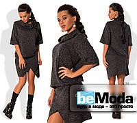 Комфортный женский костюм из приятной к телу ангоры, состоящий из свободной кофты с хомутом и юбки по фигуре с оригинальным запахом графитовый